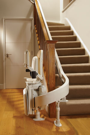 Curved-Stairlift-Folded-Away