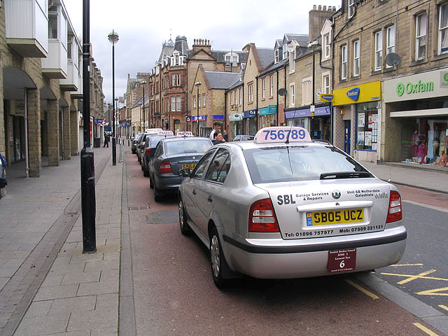 Taxi_rank_in_Channel_Street,_Galashiels_-_geograph.org.uk_-_501500
